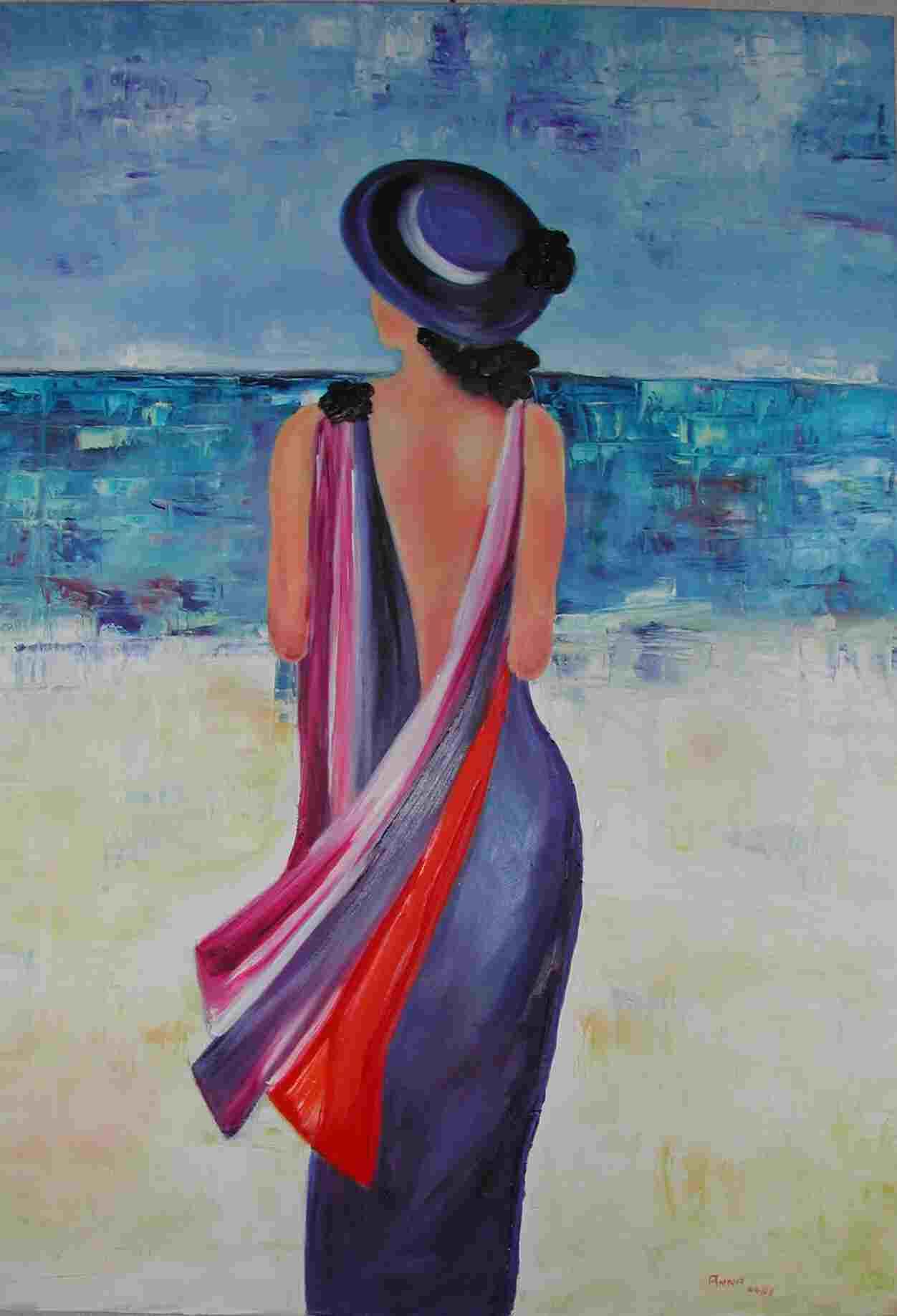 tableau peinture a l'huile femme